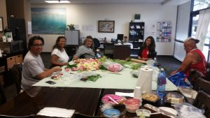 Photo of Maui Peer Support Group making lei