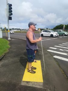 Photo of Rob waiting at intersection