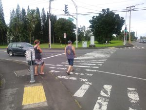 Photo of Rob crossing the street