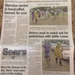 Photo of front page of The Maui News with article about White Cane Day