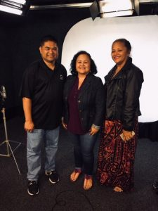 Photo of Roxanne and 2 people at Olelo PSA filming